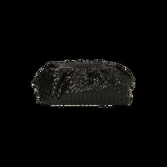 Maxi clutch nera intrecciata, IDEE REGALO, 165122668EINEROUNI, 003 preview