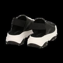 Sandali neri in eco-pelle, zeppa 4,50 cm , Scarpe, 136777206EPNERO036, 004 preview