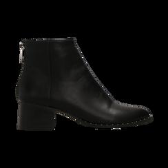 Tronchetti neri con zip, tacco medio 4,5 cm, Scarpe, 122752721EPNERO, 001 preview
