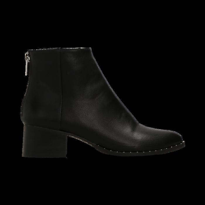 Tronchetti neri con zip, tacco medio 4,5 cm, Scarpe, 122752721EPNERO