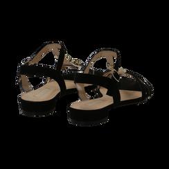 Sandali neri in microfibra con listini sottili, Primadonna, 139640152MFNERO, 004 preview