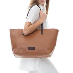Maxi-bag cuoio in eco-pelle con manici neri, Borse, 133783134EPCUOIUNI, 002a