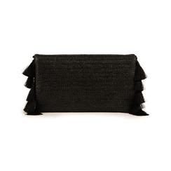 Pochette nera in raffia, Borse, 155122434RFNEROUNI, 003 preview