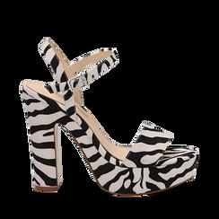 Sandali zebrati in microfibra con plateau, tacco 13 cm, Sandali con tacco, 138404164MFZEBR037, 001a