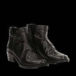 Camperos neri in vera pelle con elastici, tacco 4,5 cm, Scarpe, 131612461PENERO036, 002a