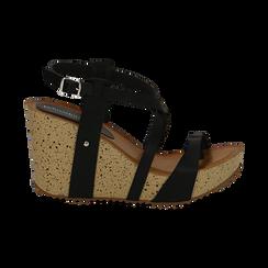 Sandali platform neri in eco-pelle, zeppa in sughero 9 cm , Saldi Estivi, 134901921EPNERO036, 001 preview