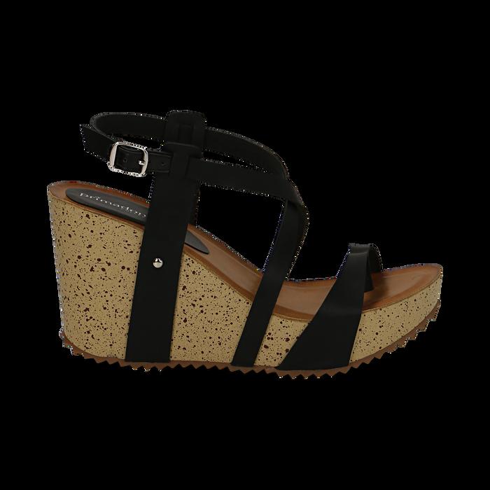 Sandali platform neri in eco-pelle, zeppa in sughero 9 cm , Saldi Estivi, 134901921EPNERO036