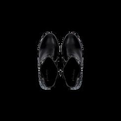 Tronchetti neri con profilil elastici e mini-borchie, tacco 5 cm, Primadonna, 129321587EPNERO040, 004 preview