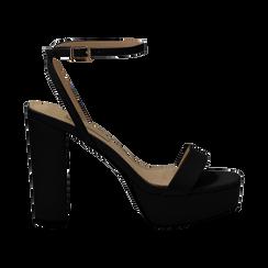 Sandali con pleateau neri in eco-pelle, tacco 12,50 cm, Scarpe, 132138091EPNERO036, 001 preview