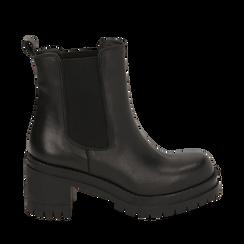 Chelsea boots noires en cuir de veau, talon 7,5 cm, Primadonna, 168900643VINERO039, 001a