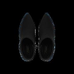 Tronchetti neri scamosciati, tacco 5 cm, Scarpe, 122707418MFNERO, 004 preview