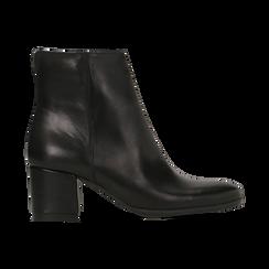 Tronchetti neri in vera pelle con elastico, tacco quadrato 5 cm, Primadonna, 127722101PENERO, 001 preview