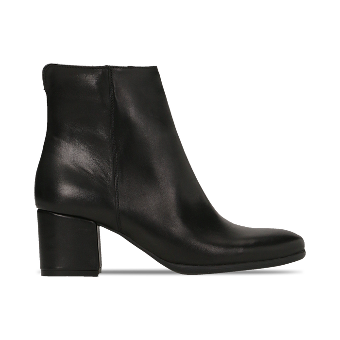 Tronchetti neri in vera pelle con elastico, tacco quadrato 5 cm, Primadonna, 127722101PENERO