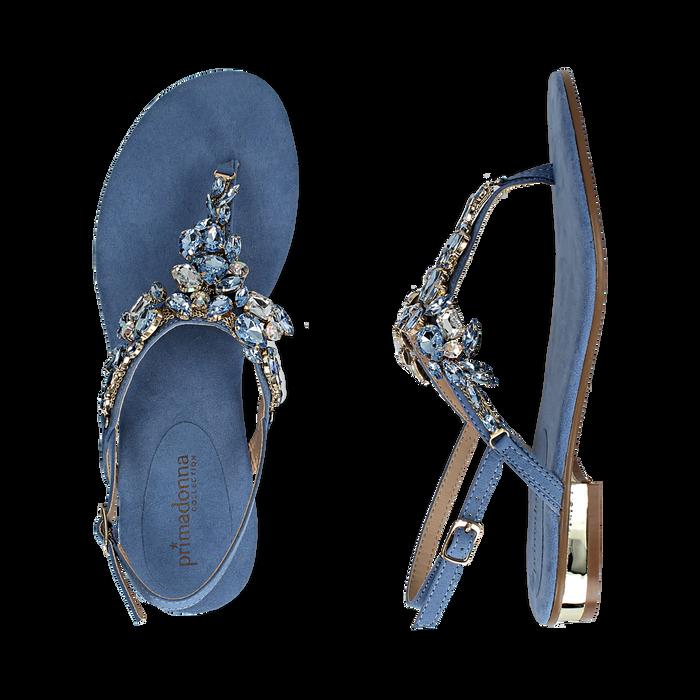 migliori scarpe da ginnastica 0109e a889b Sandali gioiello infradito azzurri in microfibra