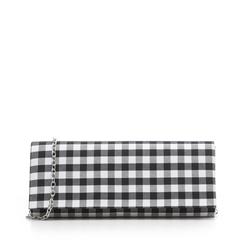 Clutch bianco/nera in tessuto stampa Vichy, Borse, 133308825TSNEBIUNI, 001a