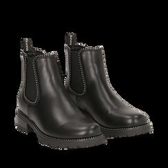 Chelsea boots neri in eco-pelle con micro boules, Scarpe, 140691301EPNERO035, 002a
