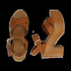 Sandali cuoio in eco-pelle, tacco 9 cm , Primadonna, 134987035EPCUOI037, 003 preview