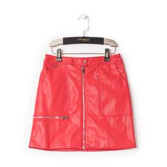 Minigonna rossa in eco-pelle con zip, effetto snake skin, Abbigliamento, 136501801EPROSSL, 001 preview