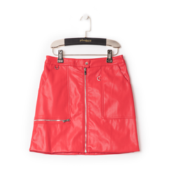 Minigonna rossa in eco-pelle con zip, effetto snake skin,