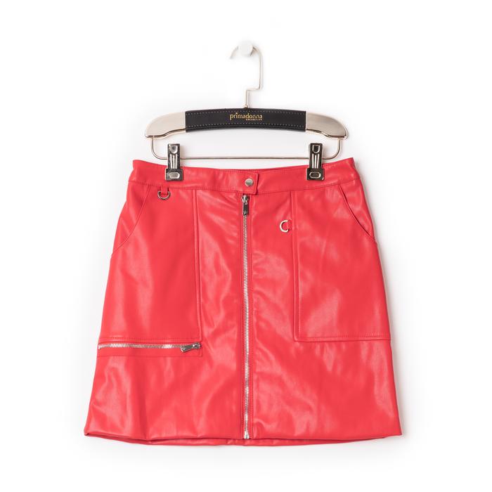 Minigonna rossa in eco-pelle con zip, effetto snake skin, Abbigliamento, 136501801EPROSSL