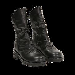 Ankle boots drappeggiati neri in eco-pelle, Stivaletti, 14A719675EPNERO035, 002a