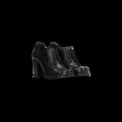Francesine stringate nere in vera pelle, tacco alto, Primadonna, 128900021VINERO036, 002
