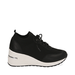 Sneakers nere in tessuto, Sneakers, 157516567TSNERO035, 001a