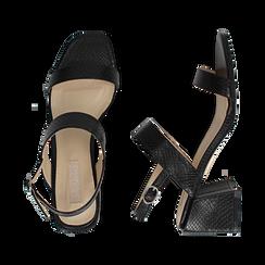 Sandali neri stampa pitone, tacco 6,50 cm, Primadonna, 152790111PTNERO036, 003 preview