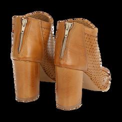 Ankle boots open toe cuoio in pelle di vitello, tacco 9 cm, Scarpe, 15A217013VICUOI036, 004 preview