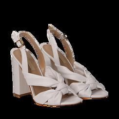 Sandali bianchi in eco-pelle con nodo, tacco 10 cm, Scarpe, 132760842EPBIAN035, 002a