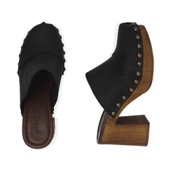 Clogs neri in nabuk , Chaussures, 154304861NBNERO036, 003 preview