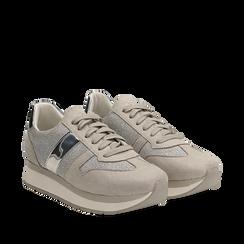 Sneaker grigia in microfibra con dettaglio mirror, Scarpe, 132899622MFGRIG036, 002a