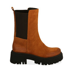 WOMEN SHOES DEMI-BOOT SUEDE COGN, Primadonna, 187204401CMCOGN035, 001a