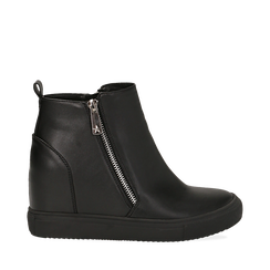 Slip-on nere in eco-pelle, zeppa interna 8 cm, Scarpe, 142008355EPNERO035, 001a