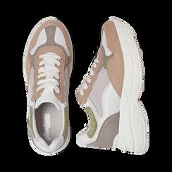 Dad shoes rosa in microfibra e tessuto tecnico, Scarpe, 132899259MFROSA036, 003 preview