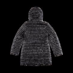 Piumino lungo nero con cappuccio, Saldi, 128500502TSNERO, 006 preview
