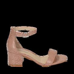 Sandalias en eco-piel con estampados de serpiente color nude, tacón 5,50 cm, 152707031PTNUDE035, 001a