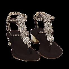 CALZATURA SANDALO MICROFIBRA NERO, Chaussures, 154927101MFNERO035, 002a