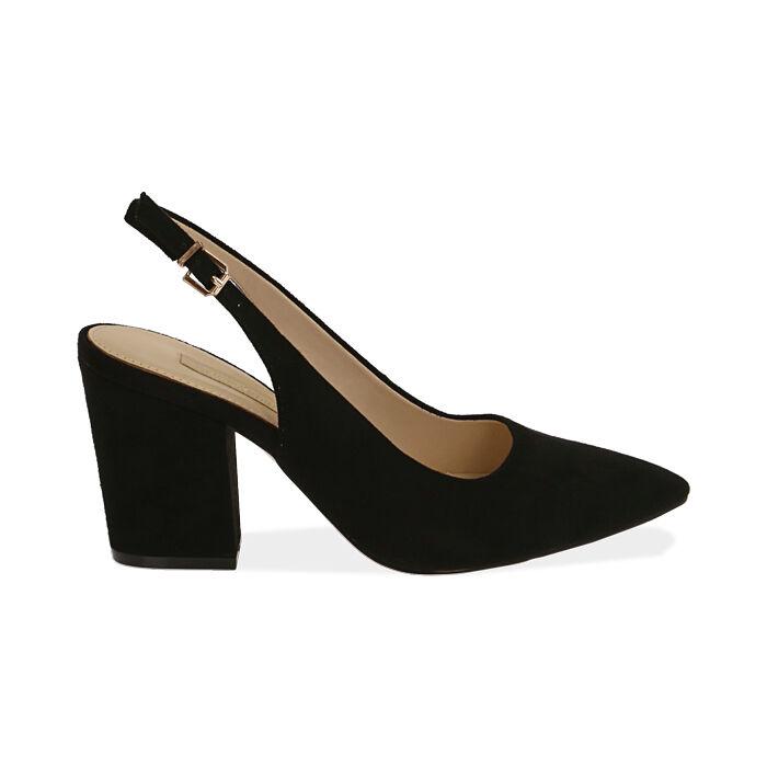 Slingback negro de microfibra, tacón 8,50 cm, Zapatos, 172183402MFNERO036