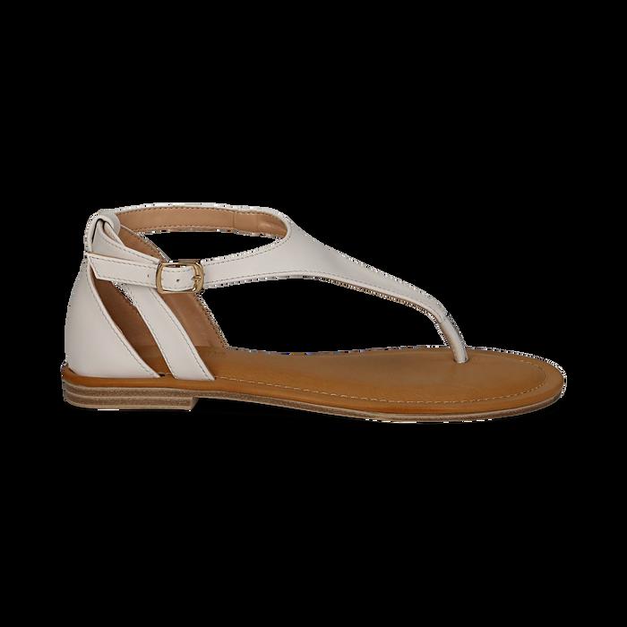 Sandali infradito bianchi in eco-pelle, Saldi Estivi, 134958215EPBIAN036