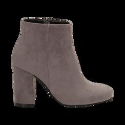 Ankle boots grigi in microfibra, tacco 9 cm , Stivaletti, 142708221MFGRIG036, 001 preview