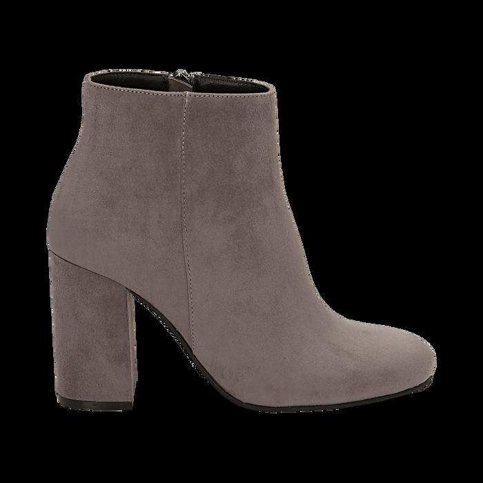 Ankle boots grigi in microfibra, tacco 9 cm , Stivaletti, 142708221MFGRIG035