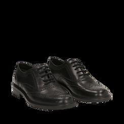 Stringate nere in pelle con lavorazione Duilio, Scarpe, 147729503PENERO036, 002a
