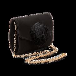 Pochette nera scamosciata con pon-pon, Saldi Borse, 123369415MFNEROUNI, 003 preview