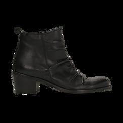 Tronchetti neri in vera pelle con punta tonda western, tacco 3 cm, Primadonna, 128900402VINERO036, 001 preview