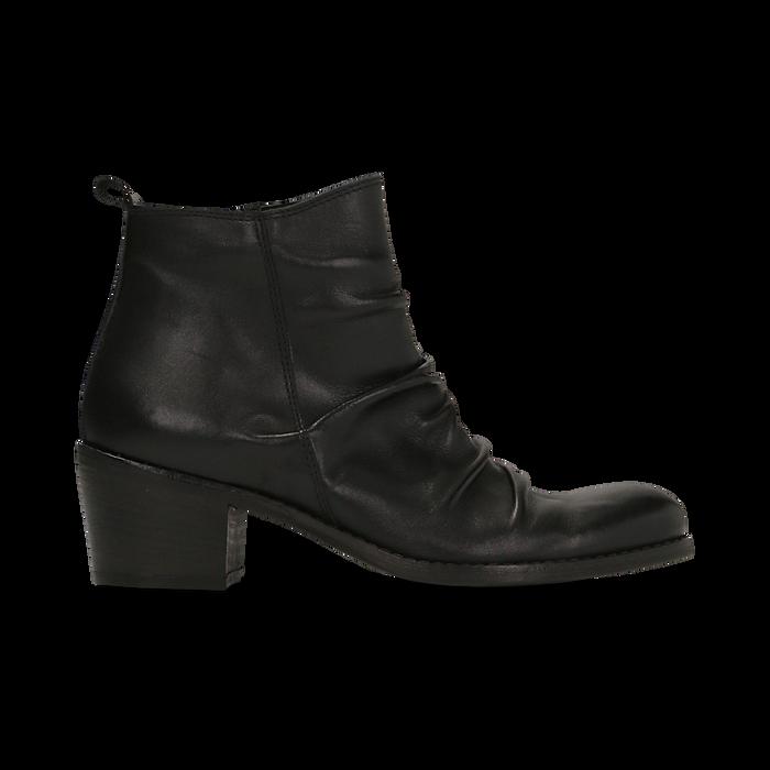 Tronchetti neri in vera pelle con punta tonda western, tacco 3 cm, Primadonna, 128900402VINERO036