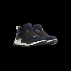Sneakers blu in lycra con fascia elastica, Primadonna, 121617843LYBLUE035, 002