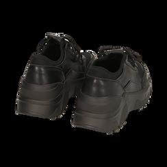 Dad shoes nere in eco-pelle, zeppa 4 cm, Primadonna, 142892502EPNERO037, 004 preview