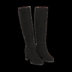 Stivali neri in camoscio, tacco 7 cm, Scarpe, 14D601110CMNERO035, 002a