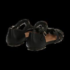 Sandali flat neri in eco-pelle con tomaia traforata, Scarpe, 134990781EPNERO041, 004 preview